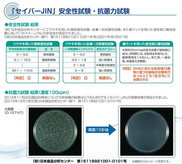 セイバー「JIN」安全性試験・抗菌力試験